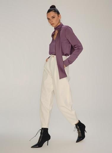 NGSTYLE Fular Bağlamalı Bluz Lila